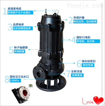 7.5KW小型潜水排污泵_采用三道机械密封