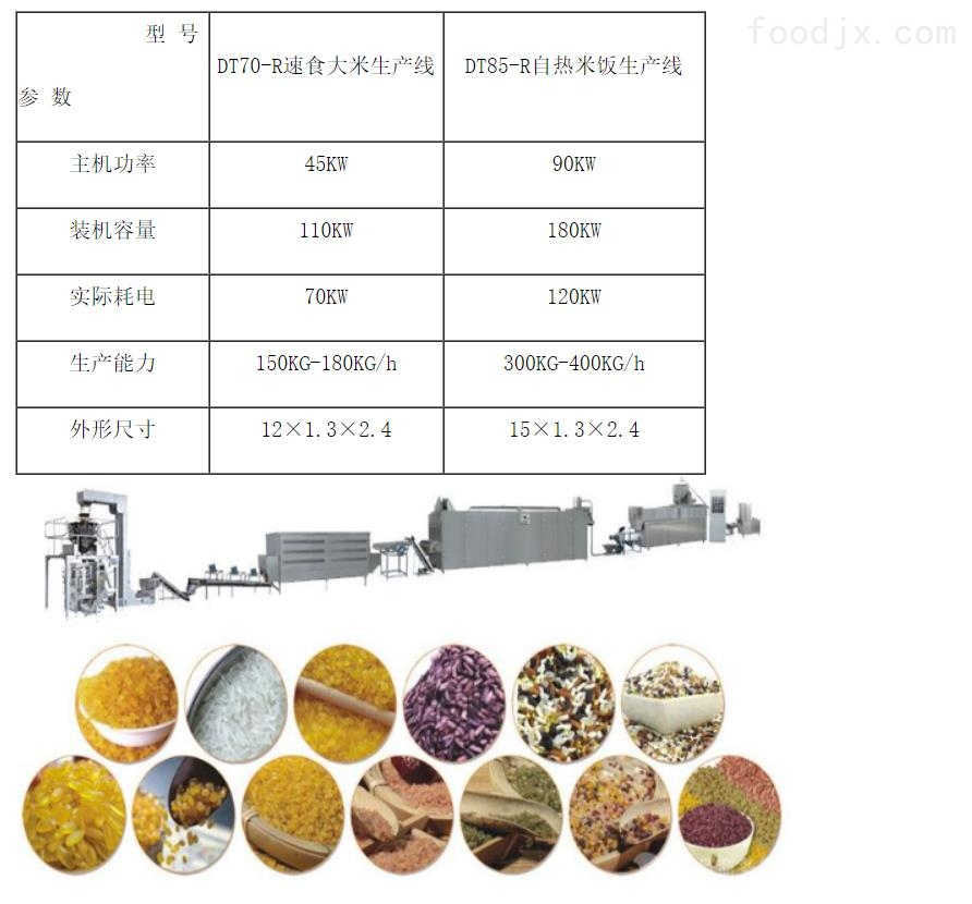自热米饭专用米机械